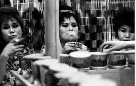 William Klein, 'Asakusa amusement center chorus girls at a dried  sh, pickle, and rice bar, Tokyo', 1961