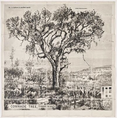 William Kentridge, 'Drawing from Waiting for the Sibyl (Comrade Tree, I report to you)', 2020