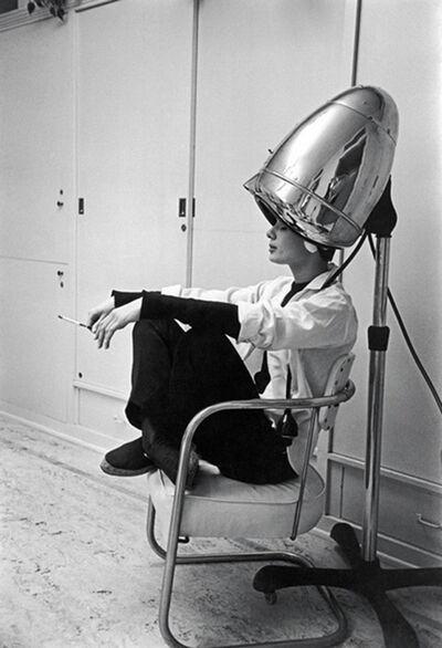 Mark Shaw, 'Audrey Hepburn Under The Dryer Holding Cigarette'