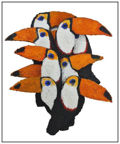 Hunt Slonem, 'Hunt Slonem Original Painting Large Wood Sculpture Birds Toucans Signed Artwork', 20th Century