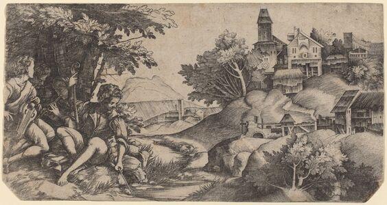 Giulio Campagnola and Domenico Campagnola, 'Shepherds in a Landscape', ca. 1517