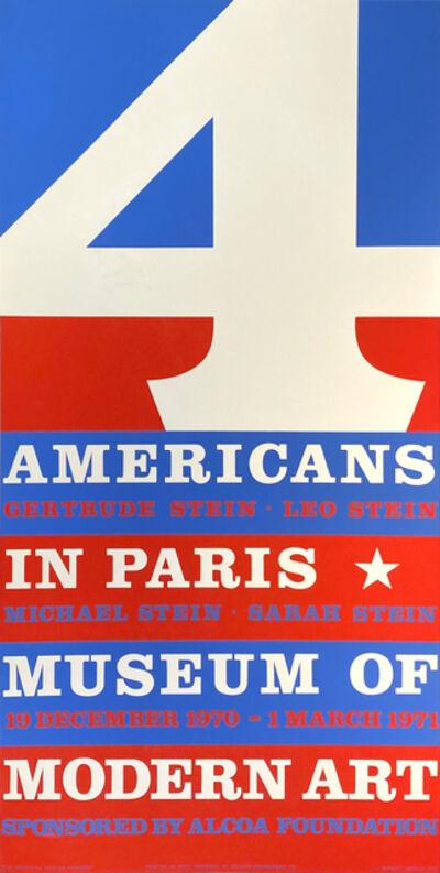 Robert Indiana, '4 Americans in Paris, MOMA Exhibition Announcement', 1970