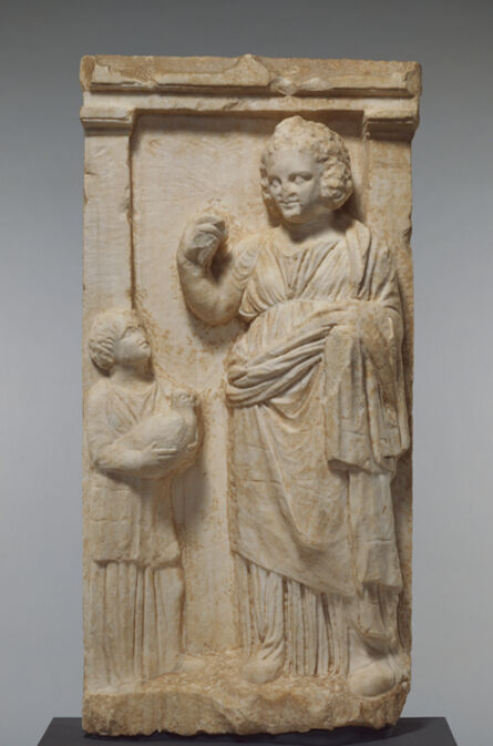 'Grave Naiskos of Demainete with an Attendant Holding a Partridge', ca. 310 BCE