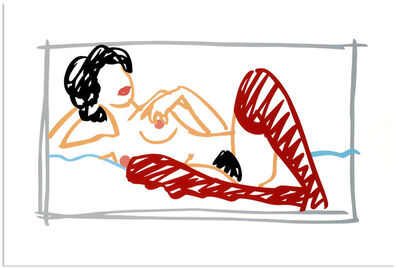 Tom Wesselmann, 'Fast Sketch Red Stocking Nude', 1991