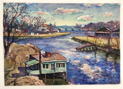 David Burliuk, 'House by the river', ca. 1945