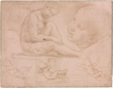 Raphael, 'Studies of a Seated Female, Child's Head, and Three Studies of a Baby', c. 1507-1508