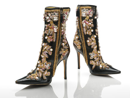 Dolce & Gabbana, 'Ankle boots, black leather stiletto heels with gold, white and pink embroidery', 2000