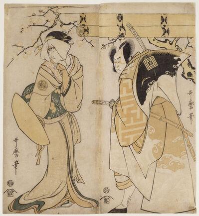 Kitagawa Utamaro, 'The actors Ichikawa Omezo I in the role of and Adachi Tokuro and Nakayama Tomisaburo I in the role of Matsumura Tatsue-mon', 1795-1796