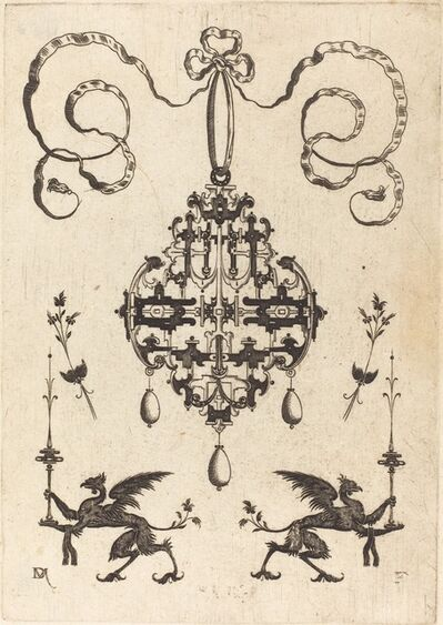 Daniel Mignot, 'Large Pendant, Lower Left and Right Two Griffins Carrying Fantasy Candlesticks', 1596