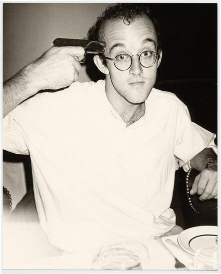 Andy Warhol, 'Keith Haring with gun', 1983-1984