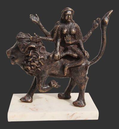 "Seema Kohli, 'Hindu Goddess seated on Lion, Mythology, Bronze Sculpture, Brown by Seema Kohli ""In Stock""', 2018"