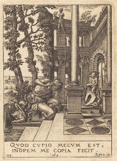 Etienne Delaune after Rosso Fiorentino, 'Narcissus at the Fountain', 1569