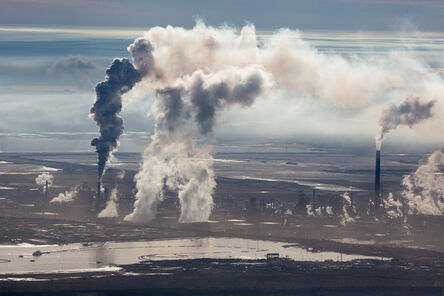 Alex Maclean, 'Steam and Smoke Rise from Upgrading Facility at Syncrude Mildred Lake Mine, Alberta, Canada', 2014