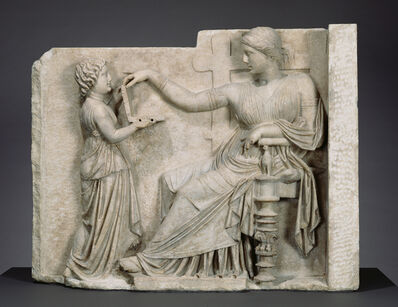 'Grave Naiskos of an Enthroned Woman with an Attendant', ca. 100 BCE