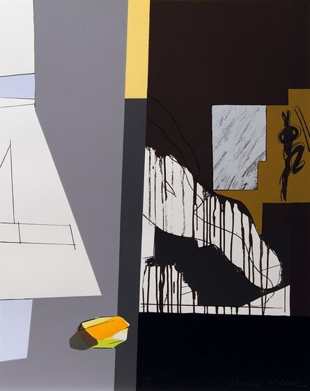 Bruce McLean, 'Untitled (A peeled and carefully faceted Golden Wonder sculpture against a two grey background)', 2013