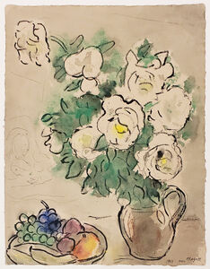 Marc Chagall, 'Roses blanches et nature morte ou Fleurs blanches et coupe de fruits (White Roses and Still Life or White Flowers and Fruit Cup)', 1953
