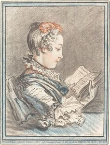 "Gilles Demarteau, the Elder after François Boucher, 'Young Girl Reading ""Héloise and Abélard""', 1770"