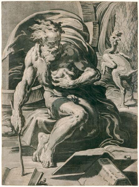 Ugo da Carpi, 'Diogenes, after Parmigianino', 1527