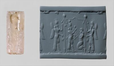 Unknown Assyrian, 'Cylinder seal and modern impression: Ishtar image and a worshiper below a canopy flanked by winged genies', ca. 8th–7th century B.C.