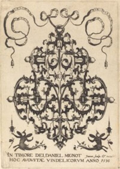 Daniel Mignot, 'Title Page: Large Pendant, Two Winged Imaginary Figures at Bottom', 1596