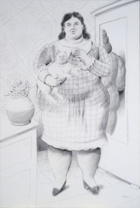 Fernando Botero, 'Woman with Cat', 2011