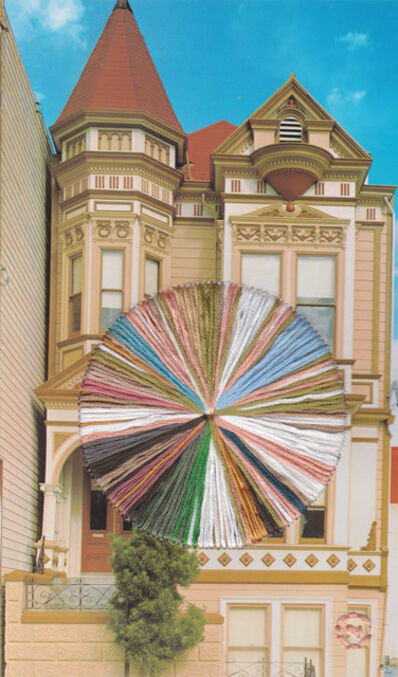Natalie Ciccoricco, 'Oak - Embroidered Image of San Francisco Victorian Home on Oak Street with Beige Blue and Pink', 2019