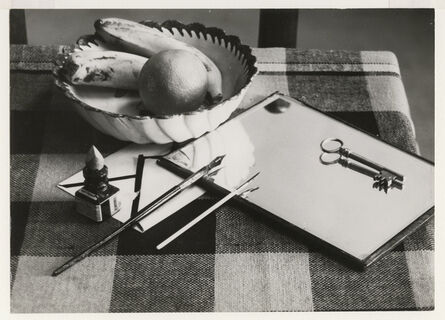 André Kertész, 'Modernist Still Life: Table with Fruit Bowl, Ink and Pen, Mirror and Key', 1927 / 1927c