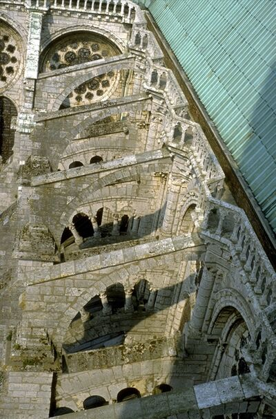 'Chartres Cathedral: exterior, detail of flying buttresses on N. side (view from N. tower)', ca. early 13th century