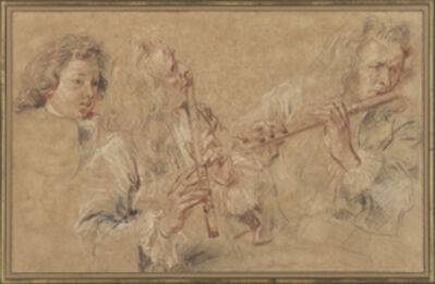 Jean-Antoine Watteau, 'Two Studies of a Flutist and a Study of the Head of a Boy', 1716-1717