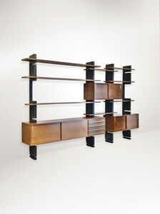 AMMA Studio, 'A sectional bookcase in lacquered wood with brass details', 1960 ca.