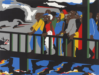 Jacob Lawrence, 'Confrontation at the Bridge from An American Portrait, Volume II: Not Songs of Loyalty Alone', 1975