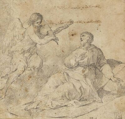Giovanni Francesco Romanelli, 'An angel violinist appearing to Saint Francis of Assisi'