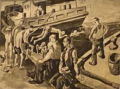 "Daniel Ralph Celentano, '""Houseboat"" WPA Depression Era American Scene Modernism Realism Work on Paper ', ca. 1930s"