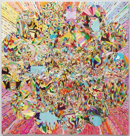 Kyungah Ham, 'Needling Whisper, Needle Country/ SMS series in Camouflage/ Money Never Sleeps C01-01-01', 2014