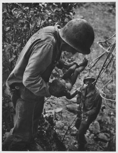W. Eugene Smith, 'Wounded, Dying Infant Found by American Soldier in the Saipan Mountains, June, 1944', 1944