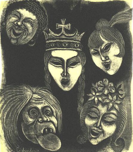 Fritz Eichenberg, 'Masks, set of 2', ca. 1945