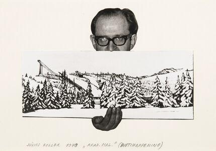 Július Koller, 'Untitled (Artist with Landscape)', 1970