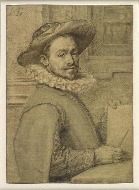 Hendrik Goltzius, 'Self-portrait holding a copper-plate', c. 1589