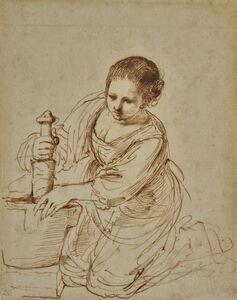 Guercino, 'Femme au mortier', 17th century