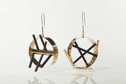 Ettore Sottsass, 'Gold earrings with ebony rods', 1984-1986