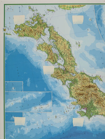 Niele Toroni, 'Empreintes de pinceau n°50 répétées à intervalles réguliers de 30 cm, Carte géographique', 1998