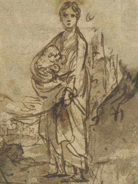 Adam Elsheimer, 'Saint Agnes (recto), Figure Studies (verso)', 1605