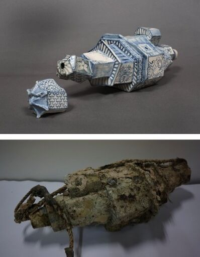 Bui Cong Khanh, 'Fortress Temple. Pair of hand-painted archaeological shards, before and after ocean-submersion (2)', 2013