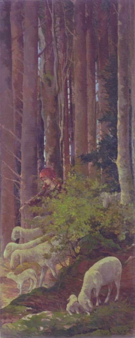 Giovanni Marchini, 'Shepherdess in the woods', 1922