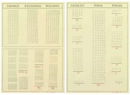 Marcel Broodthaers, 'Gedicht/Poem/Poème - Change/Exchange/Wechsel', 1973