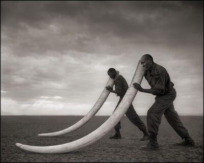 Nick Brandt, 'Two Rangers with Tusks of Killed Elephant, Amboseli 2011', 2011