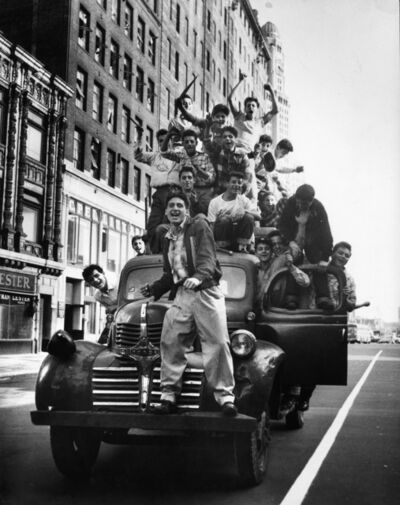 Martha Holmes, 'Brooklyn Dodger fans celebrating 1955 World Series victory, Flatbush Avenue, Brooklyn', 1955