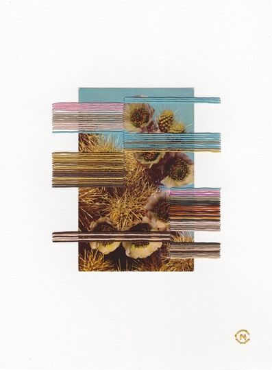 Natalie Ciccoricco, 'Color Block #2 - Embroidered Vintage Image with Teal, Brown, Ochre and Lavender', 2020