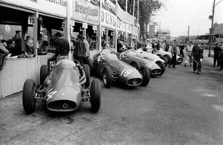 Jesse Alexander, 'Maserati Factory Team Lined up in Pits at Pau, France', 1955