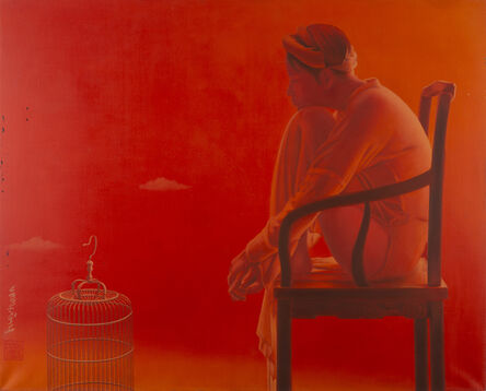 Tran Huy Hoan, ''Interwined', Red Monochromatic Oil Painting, Female Figure', 2010